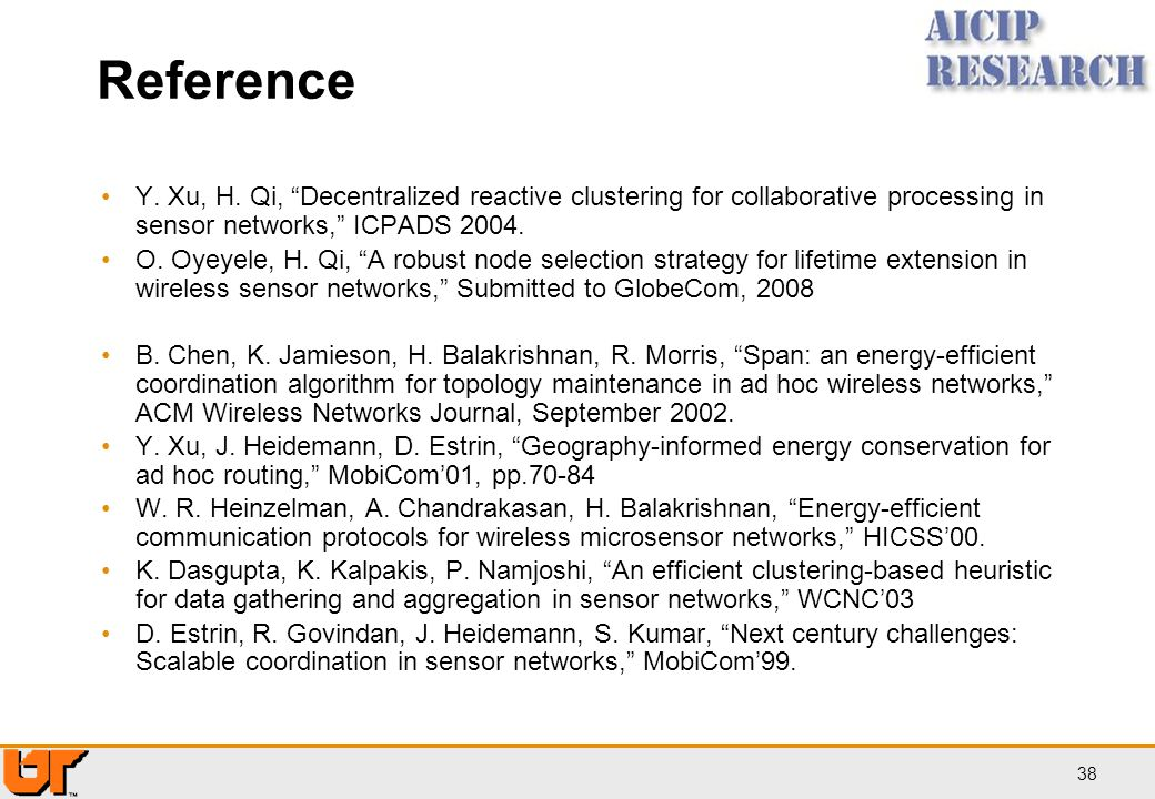 Reference Y. Xu, H. Qi, Decentralized reactive clustering for collaborative processing in sensor networks, ICPADS 2004.
