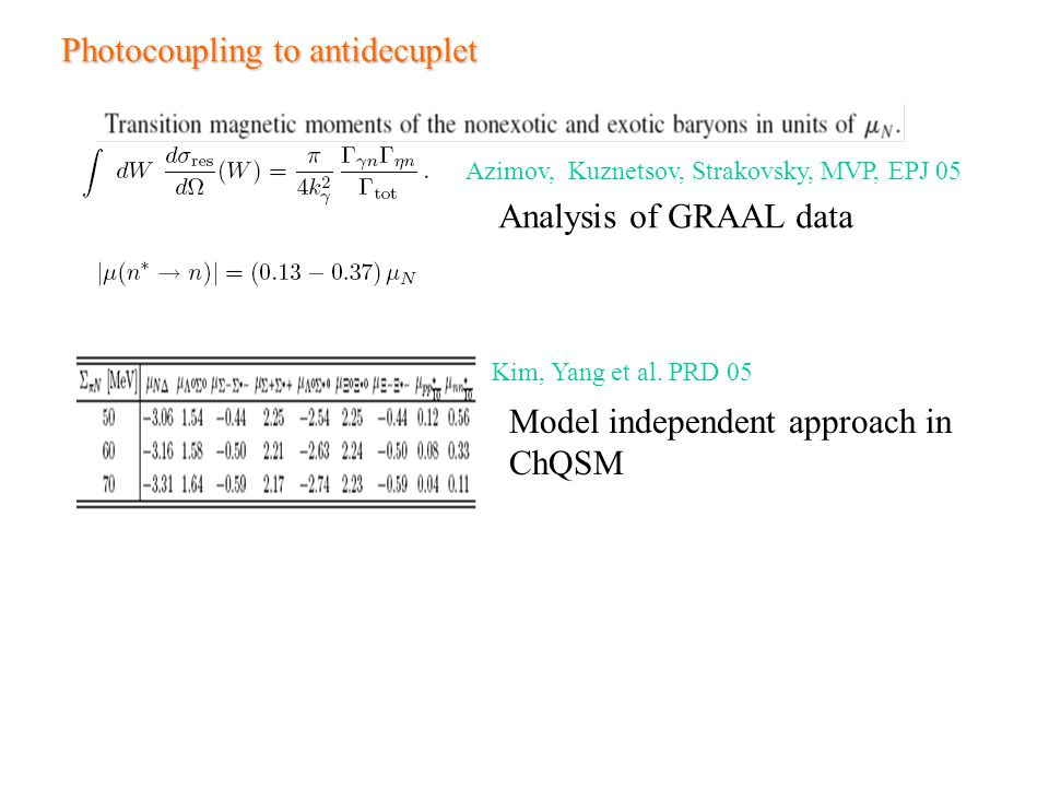 Photocoupling to antidecuplet