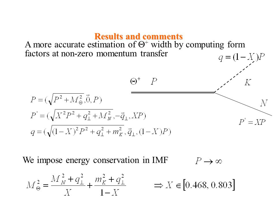 Results and comments A more accurate estimation of Q+ width by computing form factors at non-zero momentum transfer.