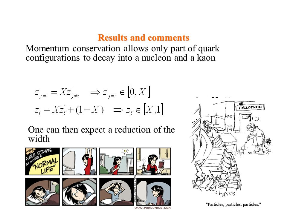 Results and comments Momentum conservation allows only part of quark configurations to decay into a nucleon and a kaon.