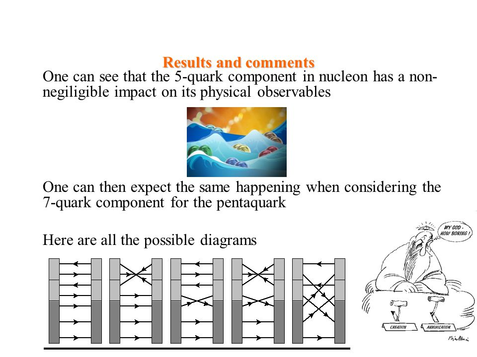 Results and comments One can see that the 5-quark component in nucleon has a non-negiligible impact on its physical observables.