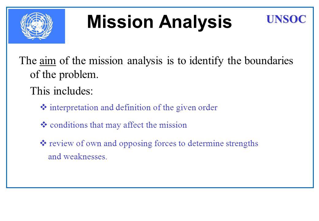 Mission Analysis UNSOC