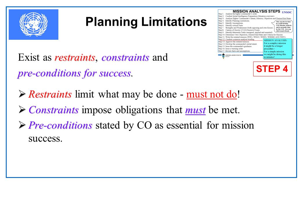 Planning Limitations Exist as restraints, constraints and