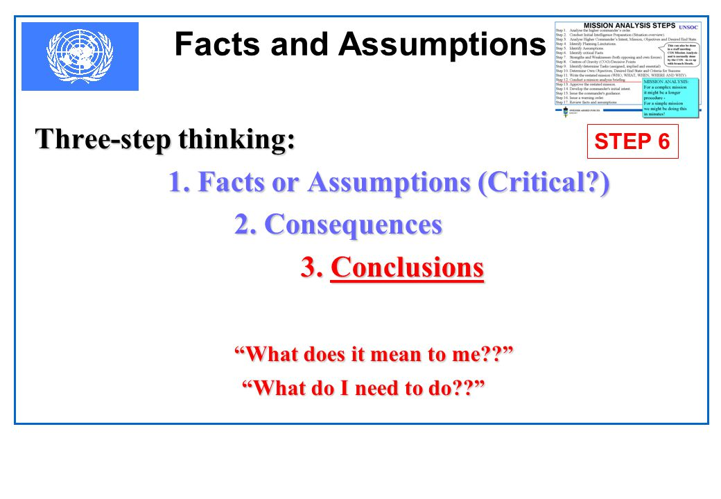 Facts and Assumptions Three-step thinking: 2. Consequences