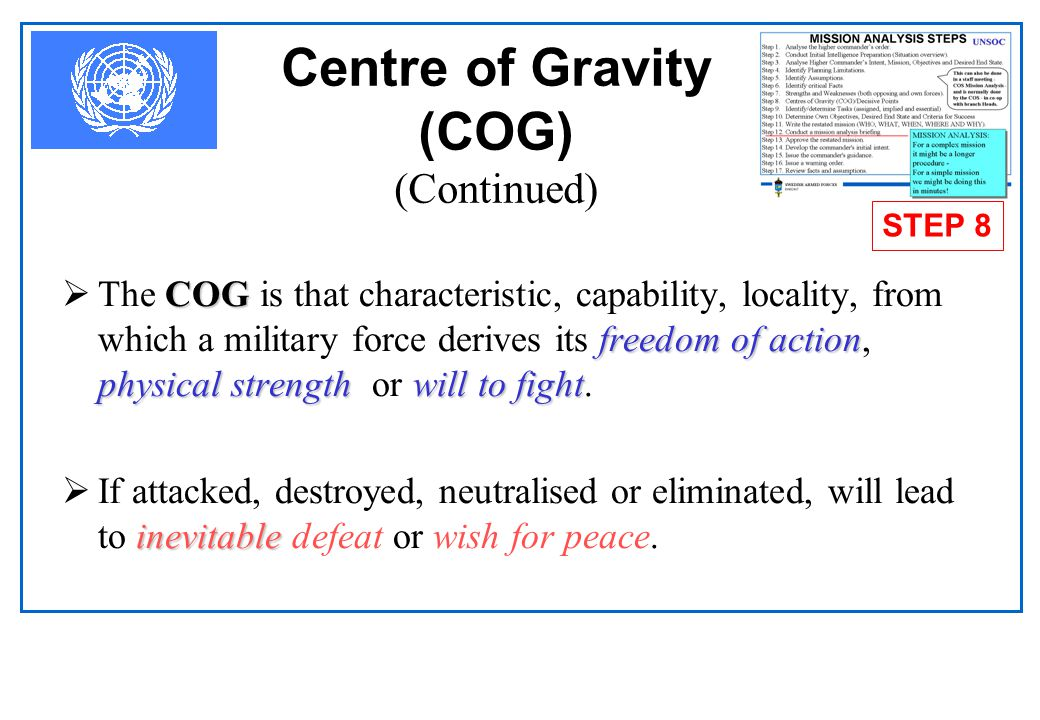 Centre of Gravity (COG) (Continued)