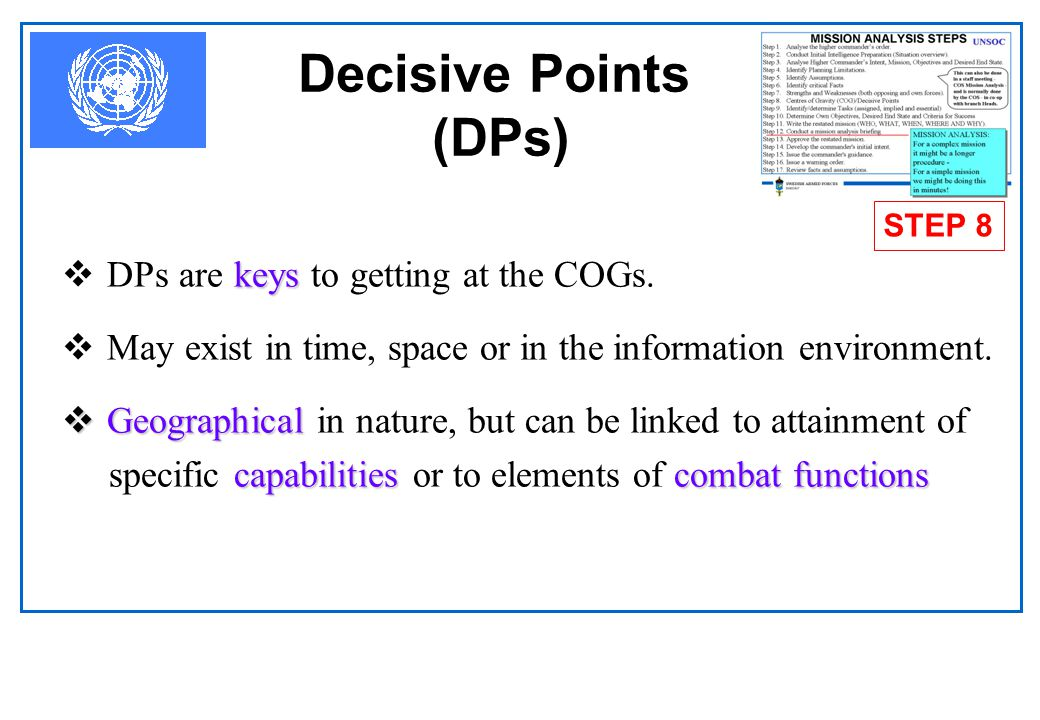 Decisive Points (DPs) DPs are keys to getting at the COGs.