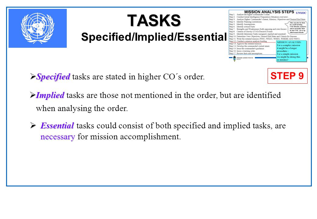 TASKS Specified/Implied/Essential