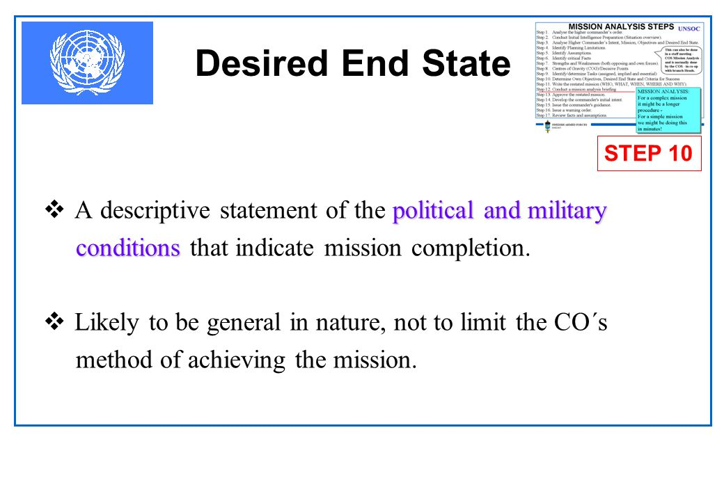 Desired End State STEP 10. A descriptive statement of the political and military. conditions that indicate mission completion.