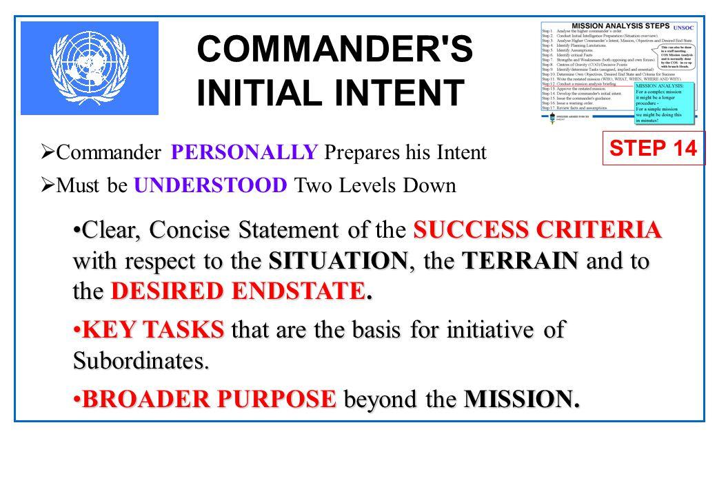 COMMANDER S INITIAL INTENT