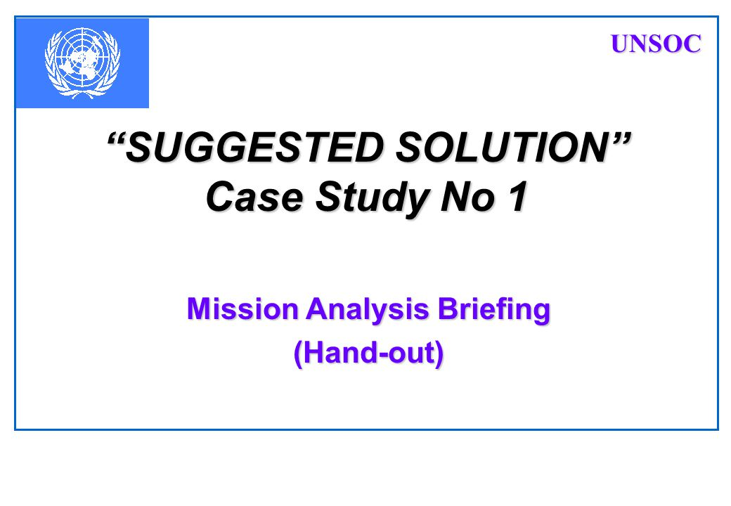 SUGGESTED SOLUTION Case Study No 1