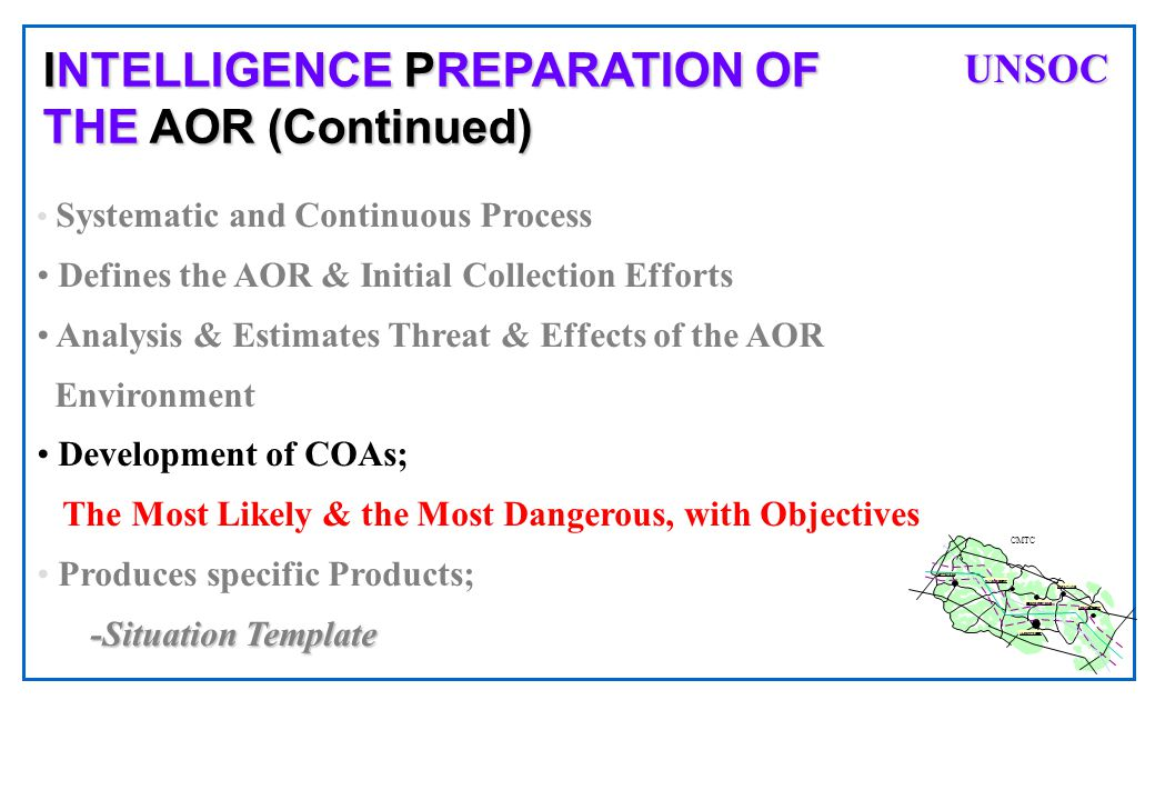 INTELLIGENCE PREPARATION OF THE AOR (Continued)