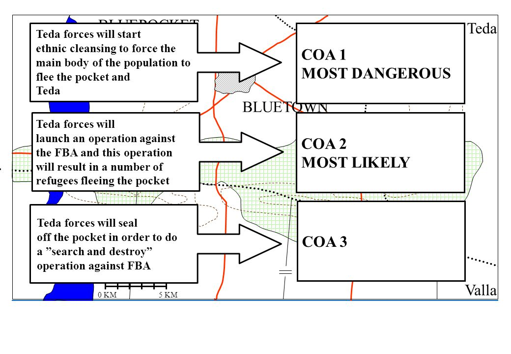 BLUEPOCKET Teda COA 1 MOST DANGEROUS BLUETOWN COA 2 MOST LIKELY COA 3