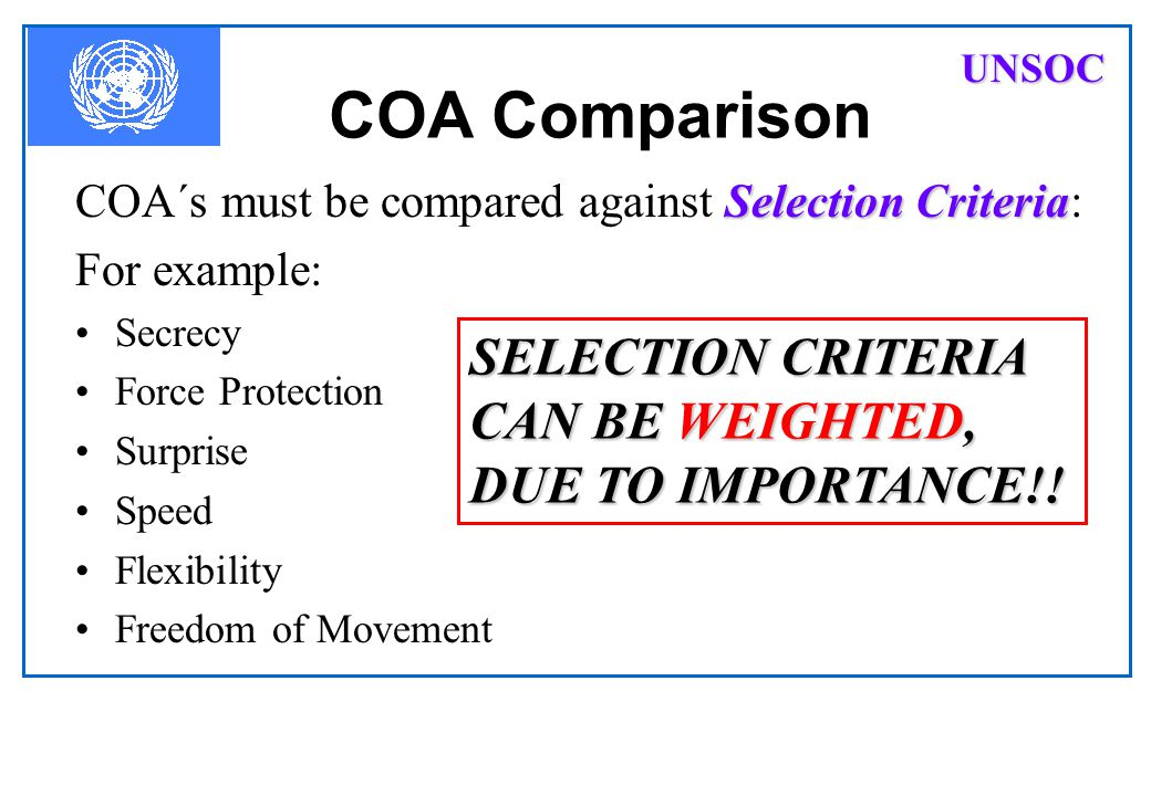COA Comparison SELECTION CRITERIA CAN BE WEIGHTED, DUE TO IMPORTANCE!!