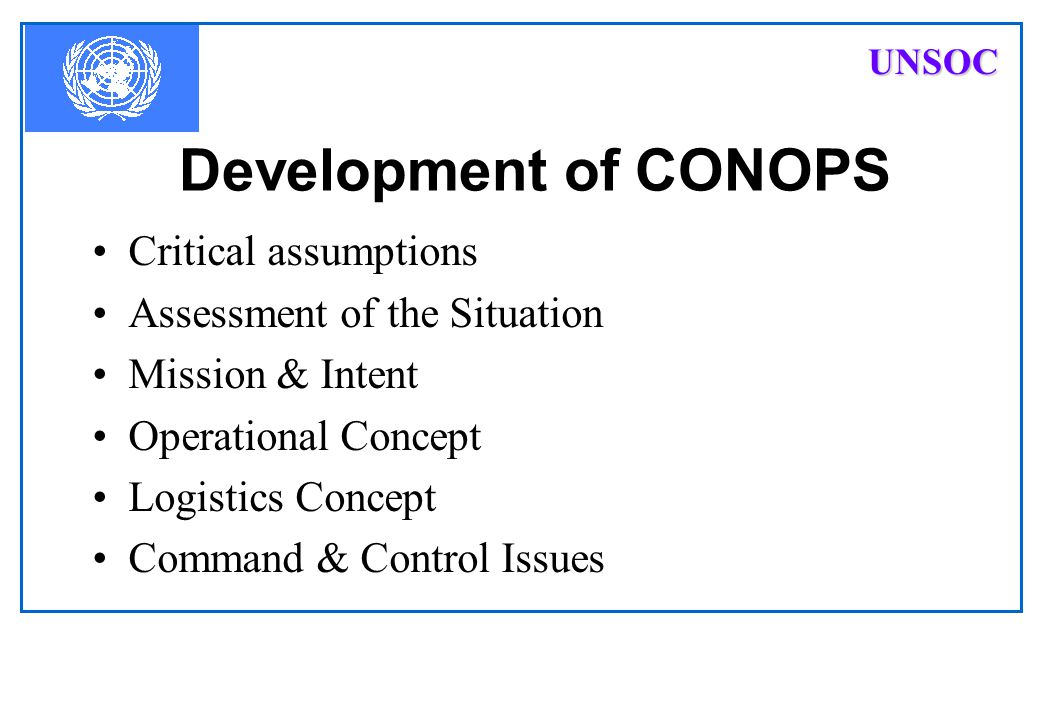 Development of CONOPS Critical assumptions Assessment of the Situation