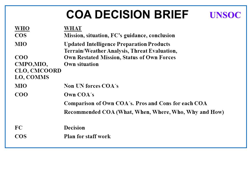 COA DECISION BRIEF UNSOC WHO WHAT