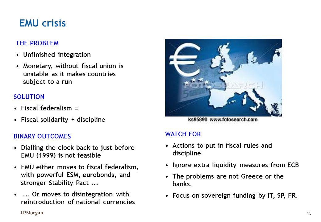 EMU crisis THE PROBLEM Unfinished integration