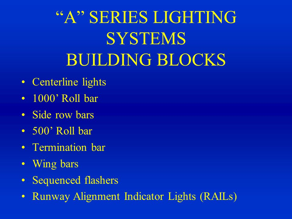 A SERIES LIGHTING SYSTEMS BUILDING BLOCKS