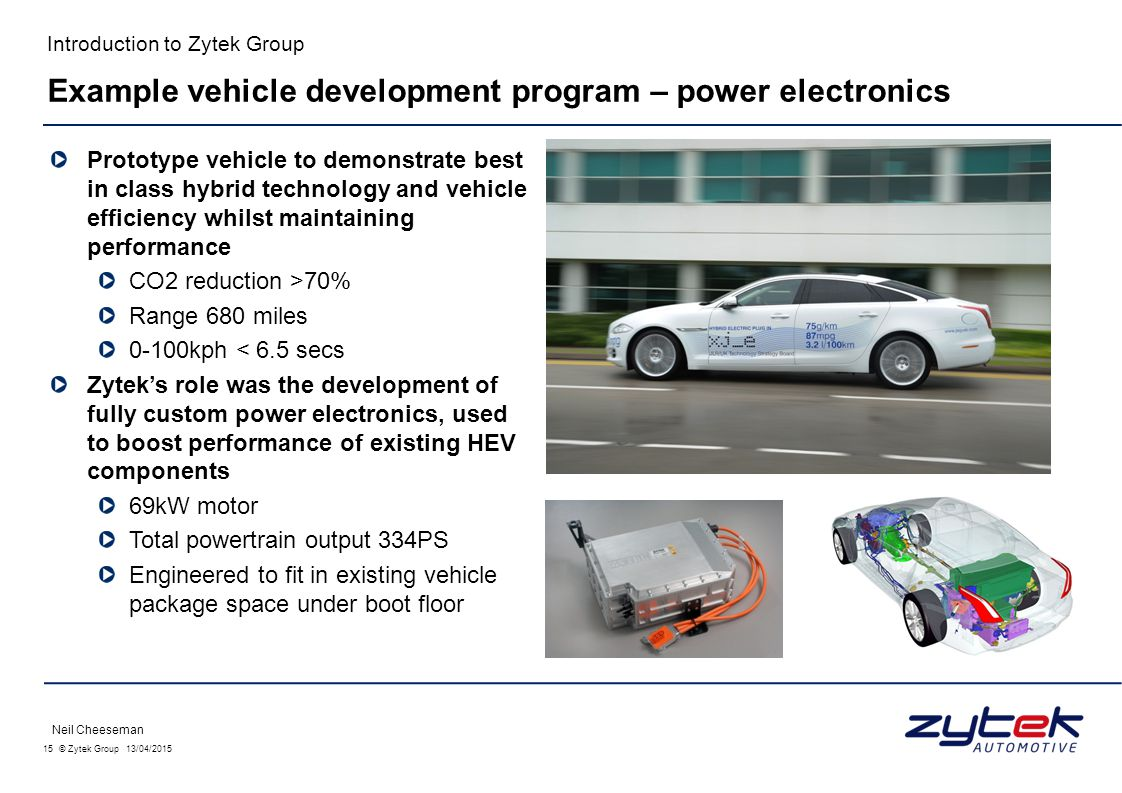 Example vehicle development program – power electronics