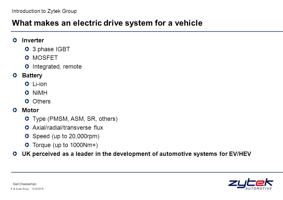 What makes an electric drive system for a vehicle