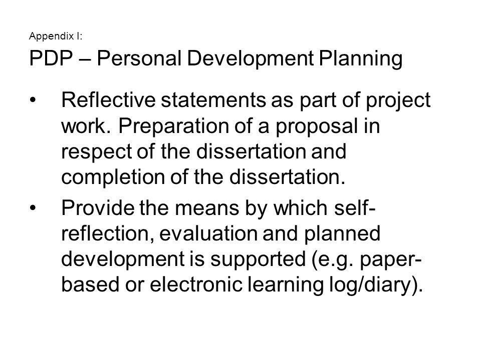 Appendix I: PDP – Personal Development Planning