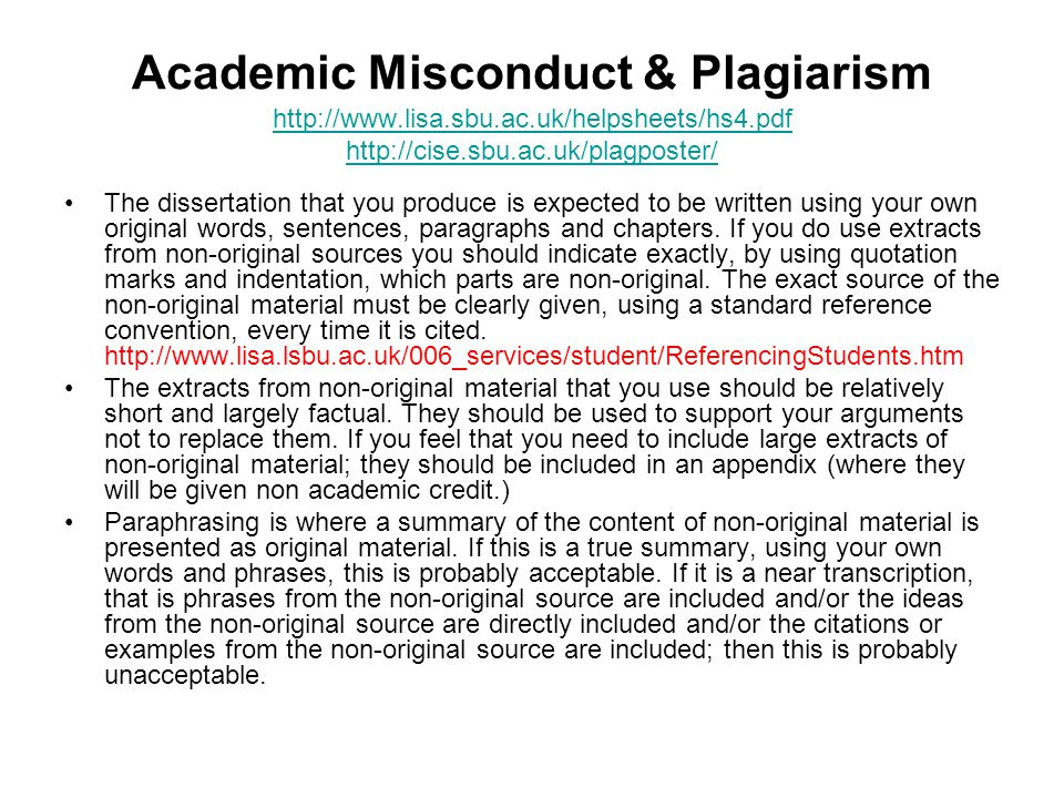Academic Misconduct & Plagiarism http://www. lisa. sbu. ac