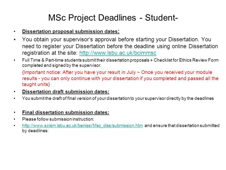 MSc Project Deadlines - Student-
