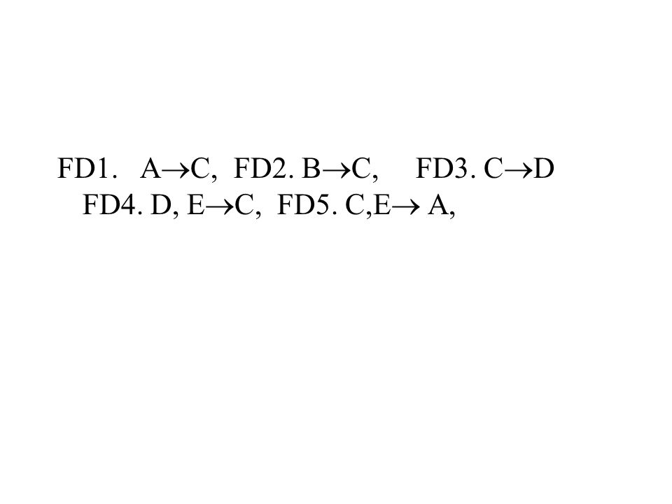 FD1. AC, FD2. BC, FD3. CD FD4. D, EC, FD5. C,E A,