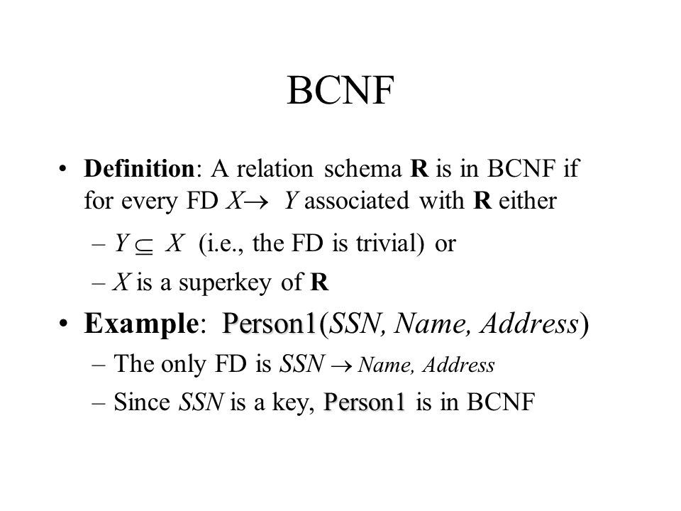 BCNF Example: Person1(SSN, Name, Address)