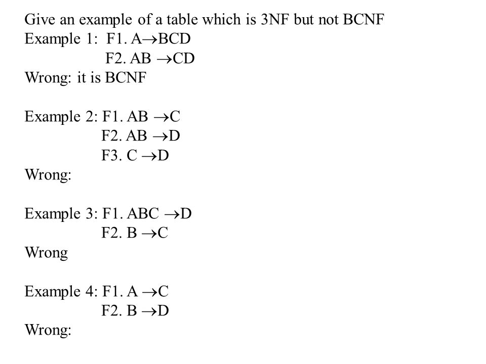 Give an example of a table which is 3NF but not BCNF