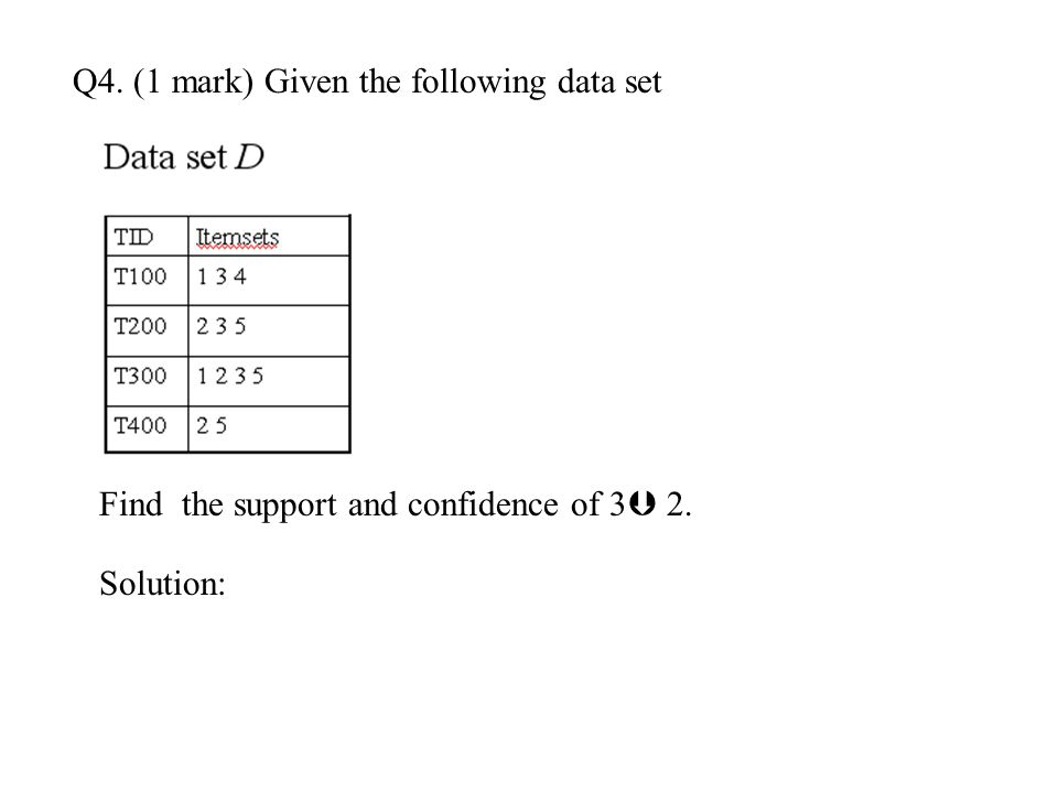 Q4. (1 mark) Given the following data set