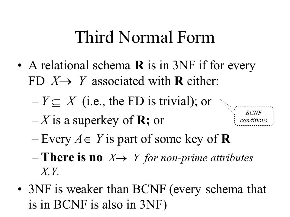 Third Normal Form A relational schema R is in 3NF if for every FD X Y associated with R either: