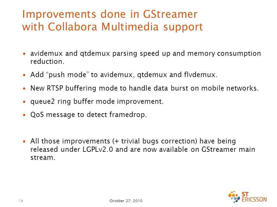 Improvements done in GStreamer with Collabora Multimedia support