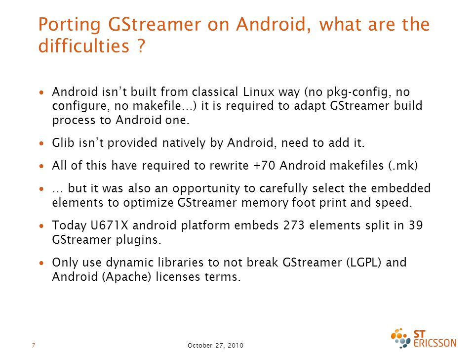 Porting GStreamer on Android, what are the difficulties