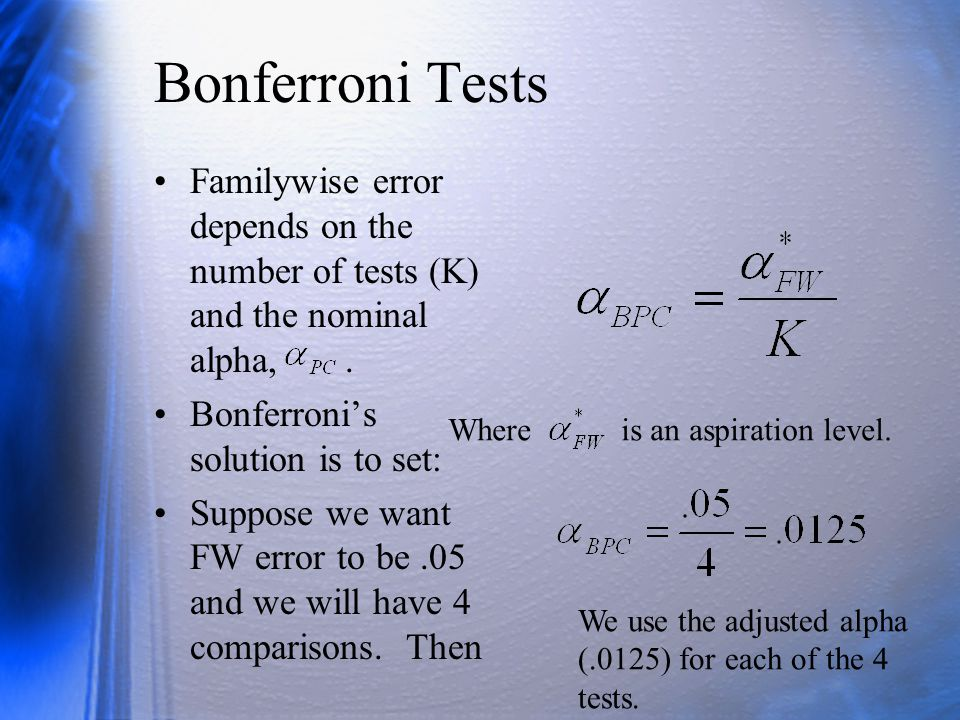 Bonferroni Tests Familywise error depends on the number of tests (K) and the nominal alpha, .