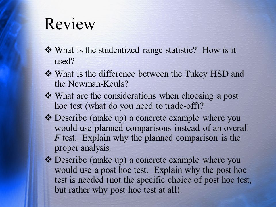 Review What is the studentized range statistic How is it used