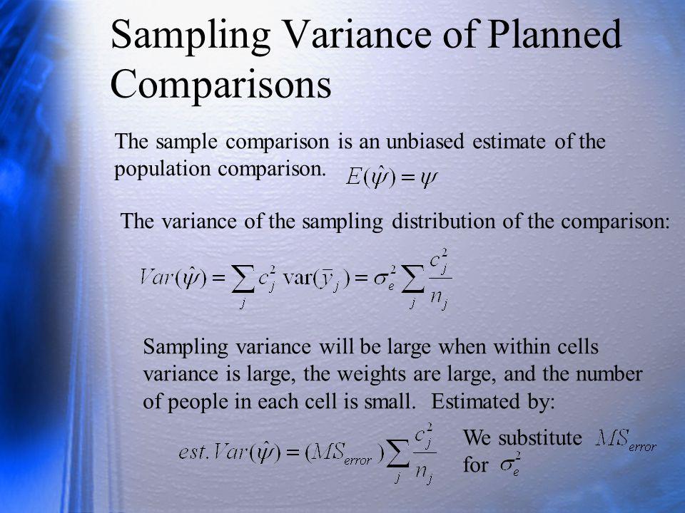 Sampling Variance of Planned Comparisons