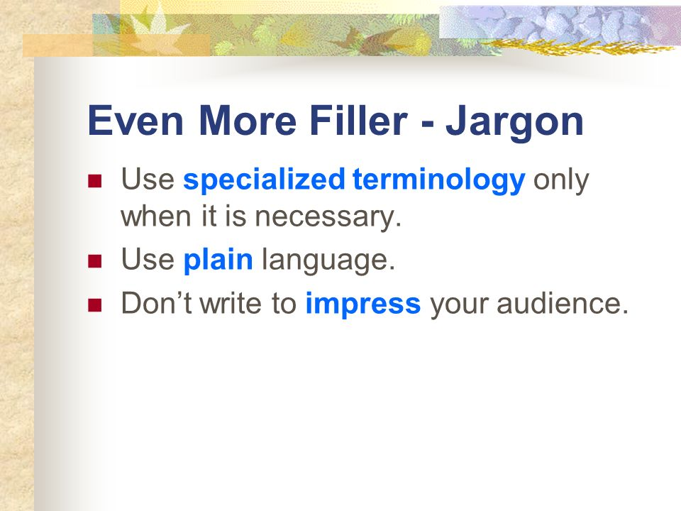 Even More Filler - Jargon