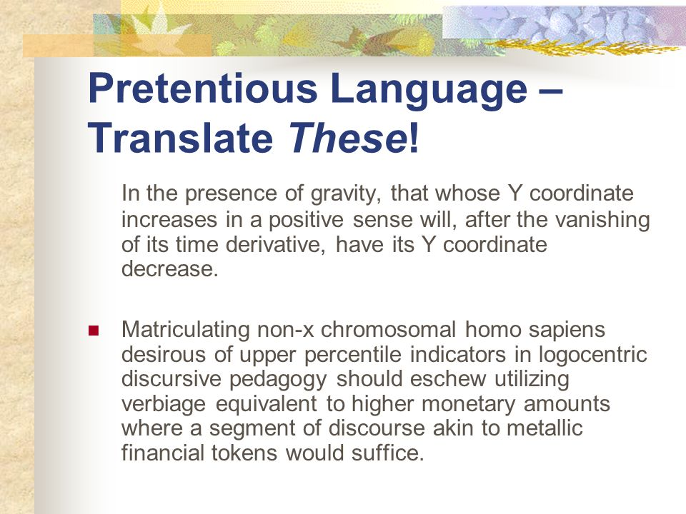 Pretentious Language – Translate These!