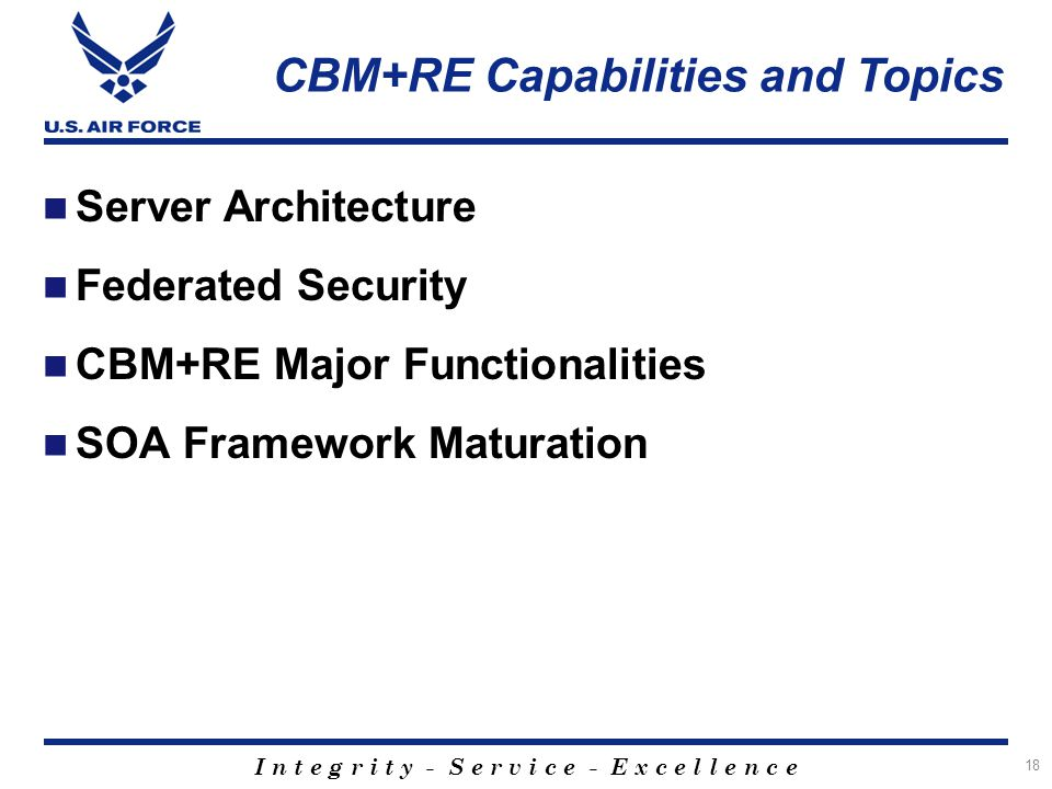 CBM+RE Capabilities and Topics