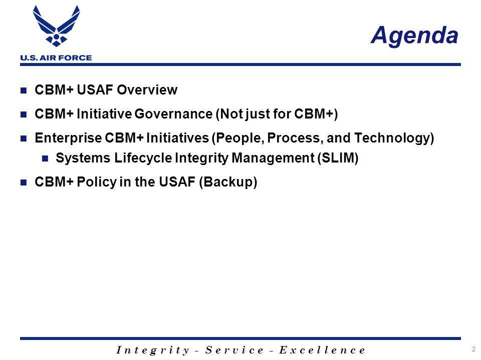 Agenda CBM+ USAF Overview