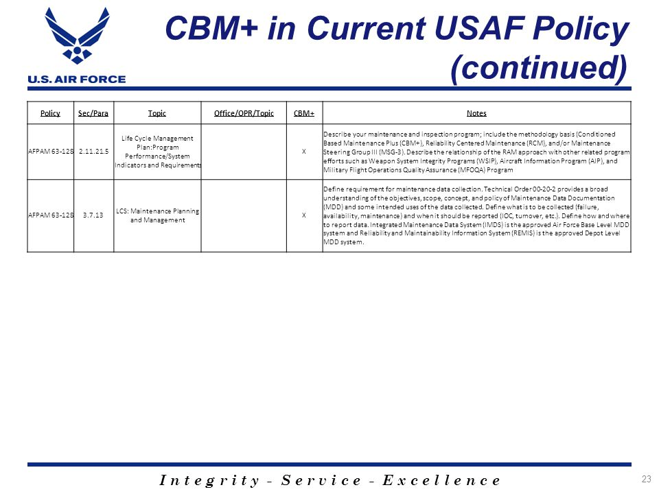 CBM+ in Current USAF Policy (continued)