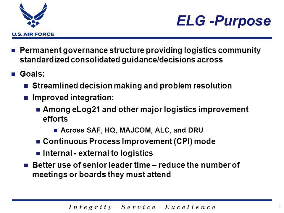 ELG -Purpose Permanent governance structure providing logistics community standardized consolidated guidance/decisions across.