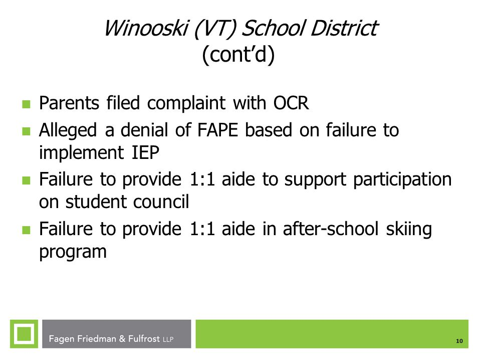 Winooski (VT) School District (cont'd)