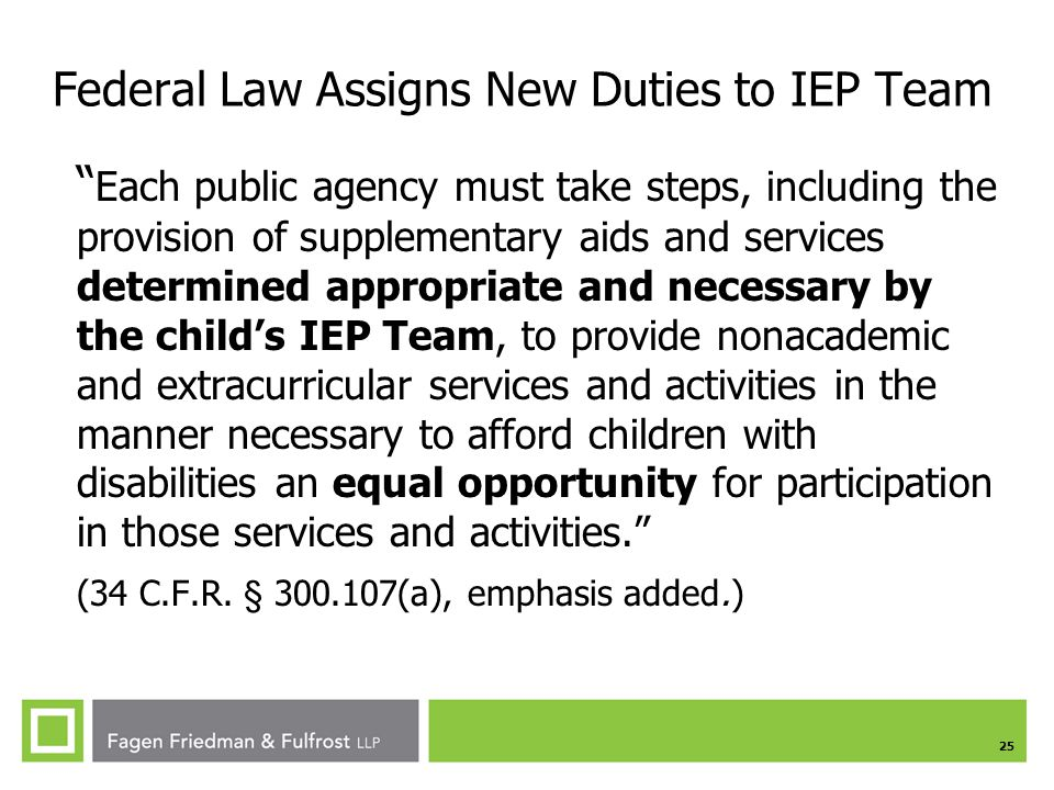 Federal Law Assigns New Duties to IEP Team