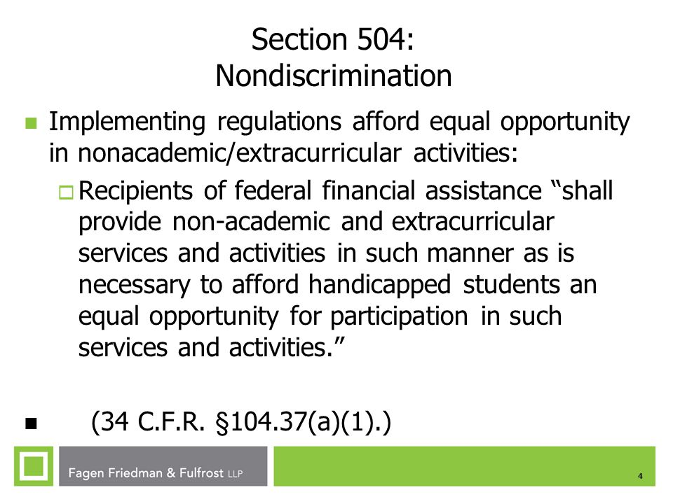 Section 504: Nondiscrimination