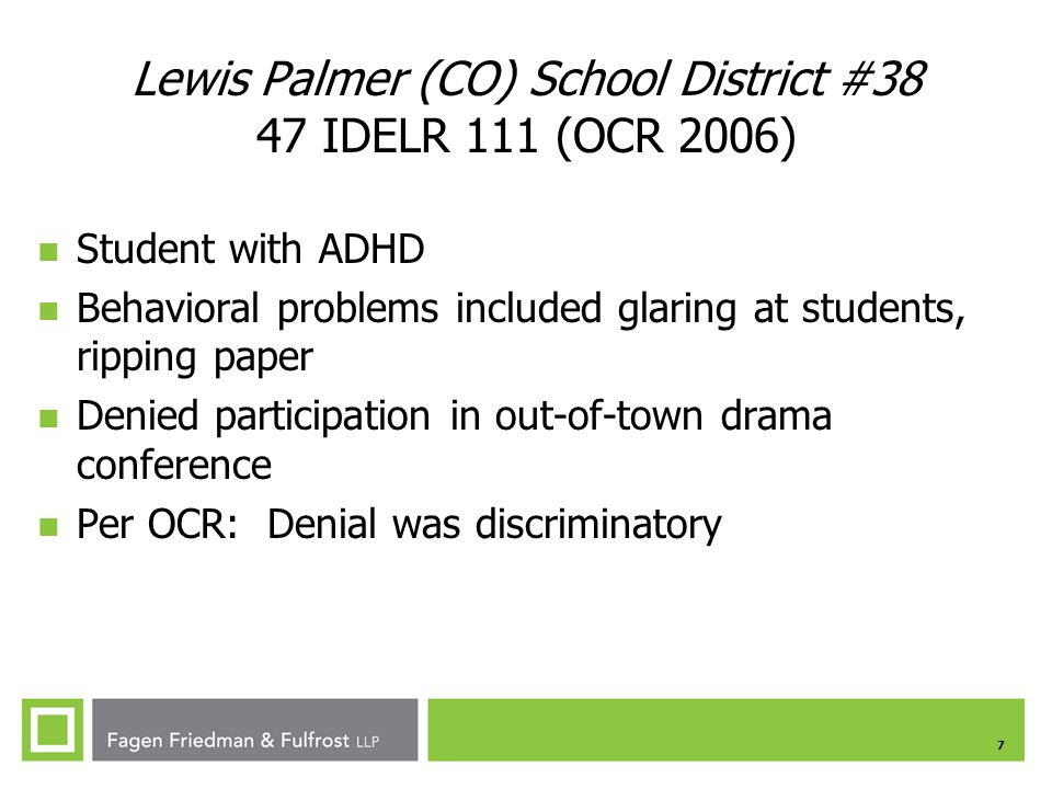 Lewis Palmer (CO) School District #38 47 IDELR 111 (OCR 2006)
