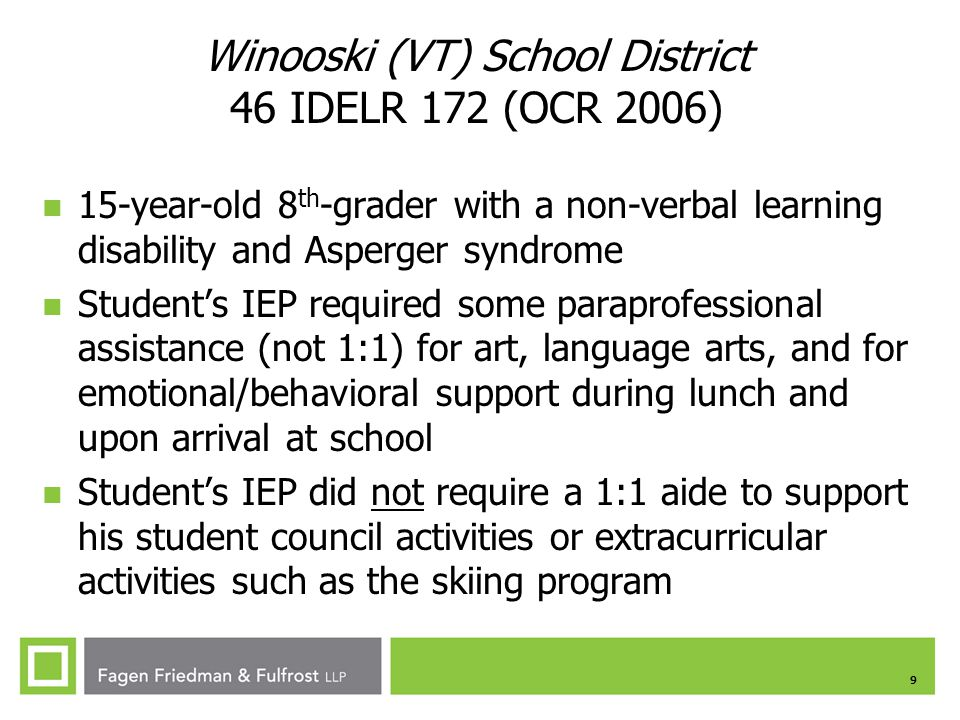 Winooski (VT) School District 46 IDELR 172 (OCR 2006)