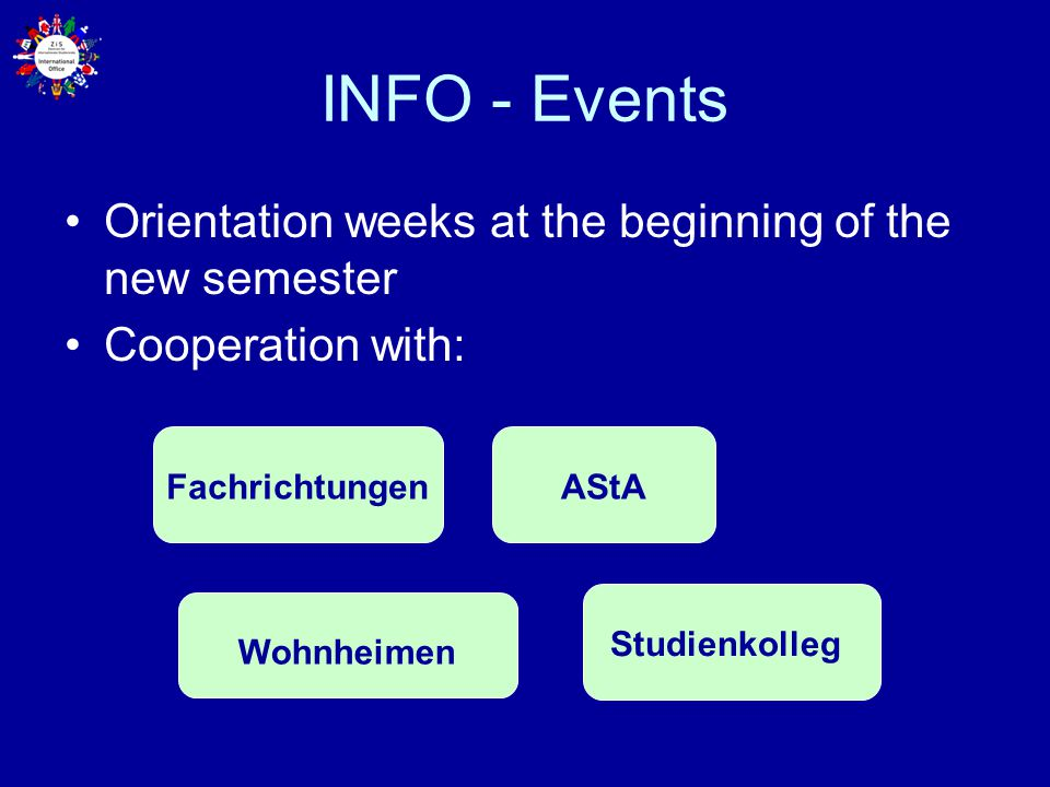 INFO - Events Orientation weeks at the beginning of the new semester