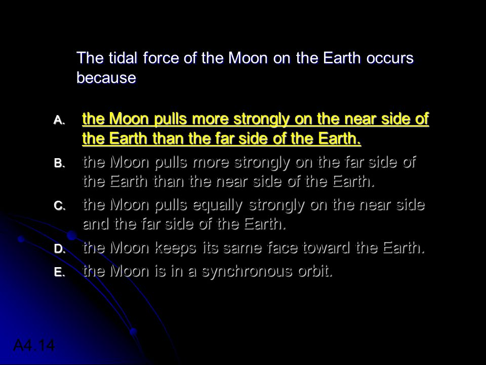 The tidal force of the Moon on the Earth occurs because