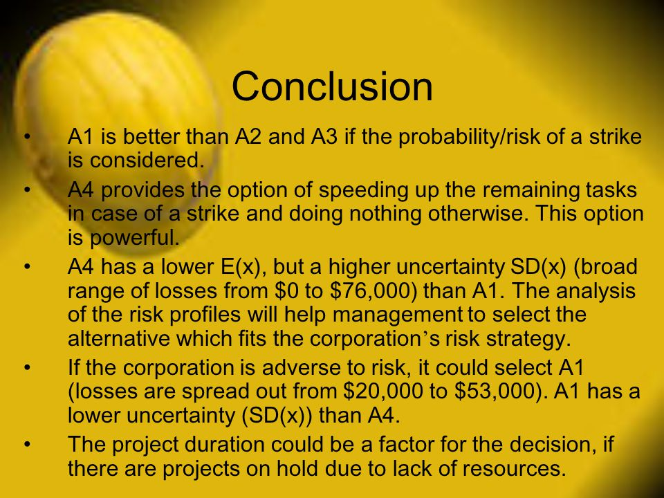 Conclusion A1 is better than A2 and A3 if the probability/risk of a strike is considered.